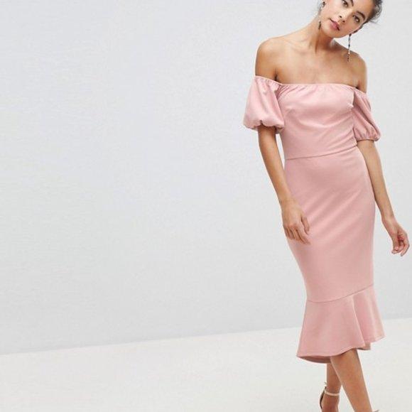 Dusty rose midi dress (ASOS)